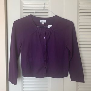 Loft cotton cardigan in purple